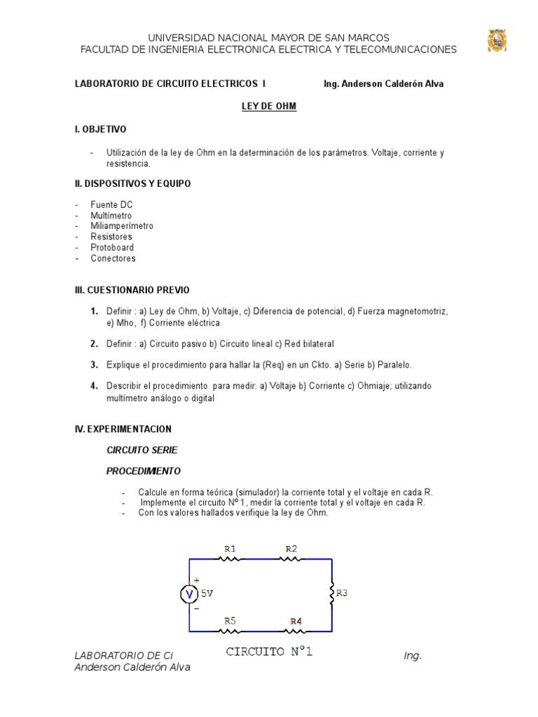 Circuito Lineal : Lab circuitos calderon alva