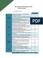 Ficha de Evaluación Autoevaluación Proyecto