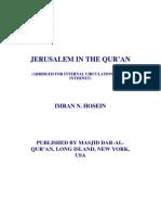 Jerusalem in the Quran by Sheikh Imran Hosein.