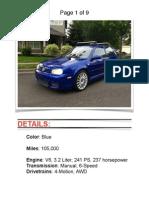 2004 VW R32 blue w/ 105k