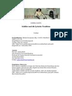 Schiller Und Die Lyrik Tradition