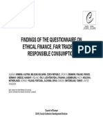 FINDINGS OF THE QUESTIONNAIRE ON ETHICAL FINANCE, FAIR TRADE AND RESPONSIBLE CONSUMPTION