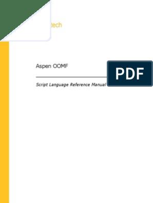 AspenOOMFScriptLangV7 3 Ref | Parameter (Computer