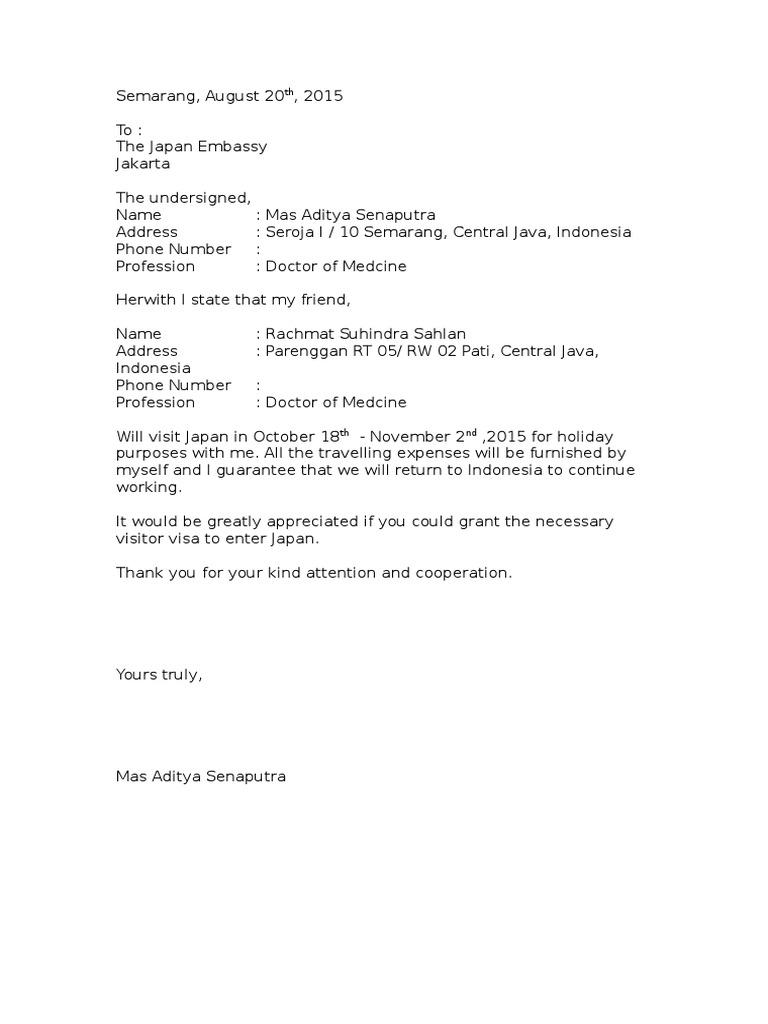 Contoh Surat Sponsor Visa