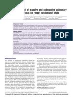[Doi 10.1097%2FMCP.0000000000000089] O. Sanchez; B. Planquette; G. Meyer -- Management of Massive and Submassive Pulmonary Embolism