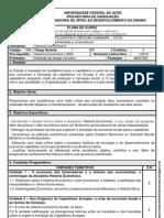 PLANO DE CURSO - História Econômica II. Eduardo Carneiro