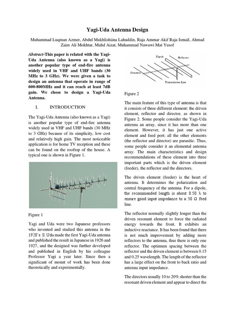 Yagi-Uda Antenna Design | Antenna (Radio) | Electromagnetism