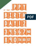 Orange Mini Birthday Bunting