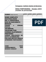 Formulário Pré-Inscrição 2015 Outubro