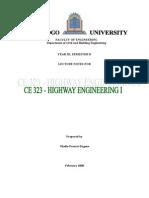 CE 323-Highway Engineering I