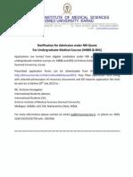 International Admissions 2015 - Notification