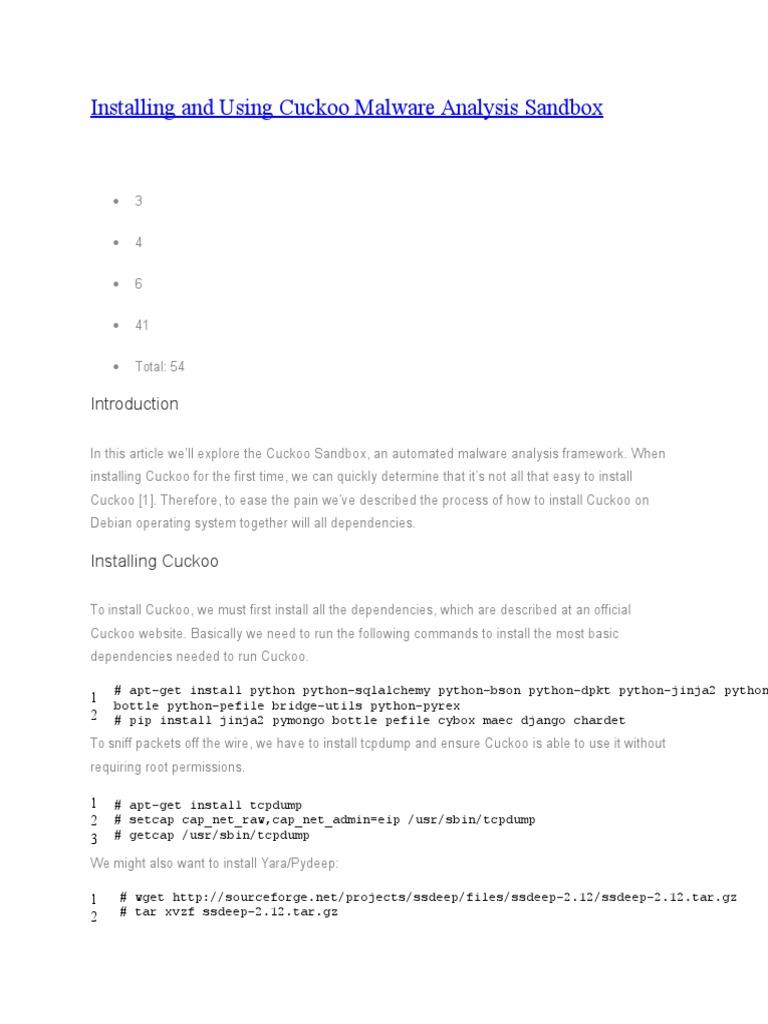 Installing and Using Cuckoo Malware Analysis Sandbox