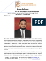 Press Release on Islamic Finance is an Ideal Tool of Financial Inclusion (English)