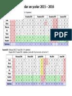 calendarCalendar an Scolar 2015-2016