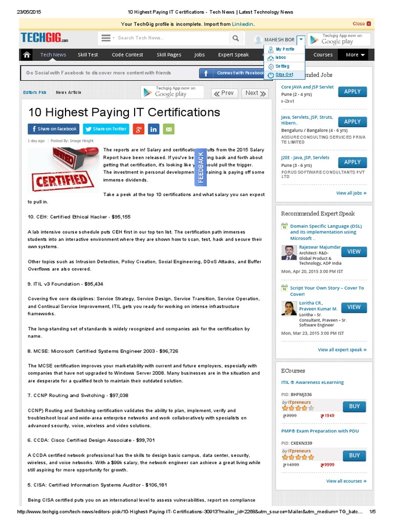 10 Highest Paying It Certifications Tech News Latest Technology