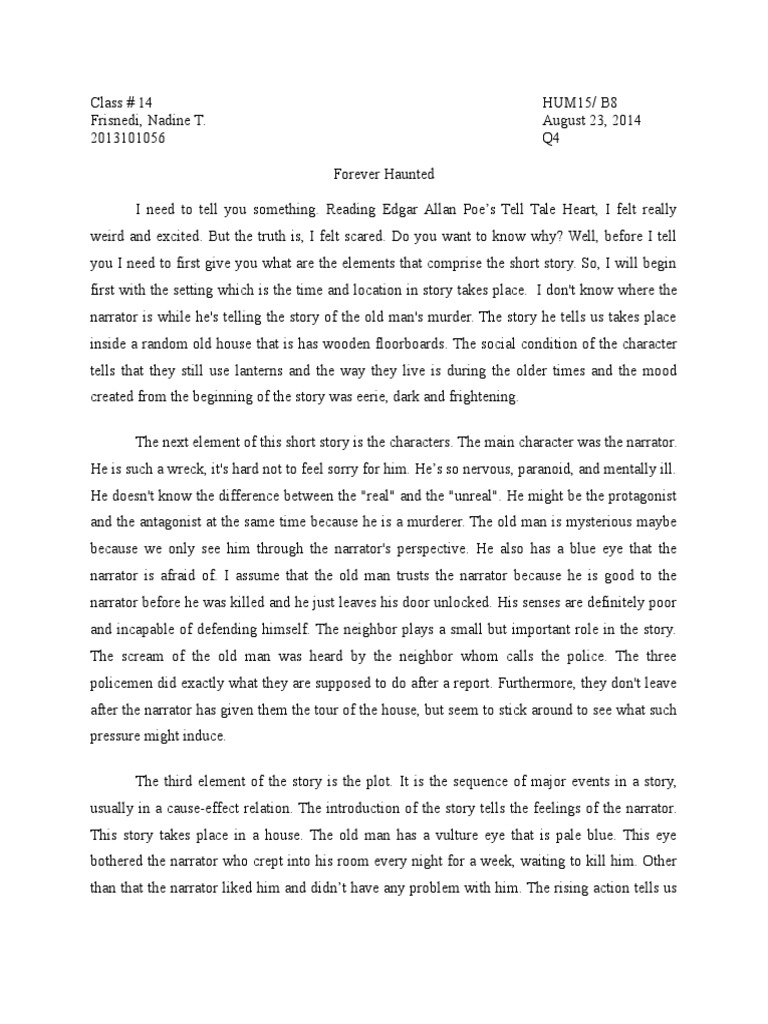 tell tale heart reflection reaction paper narration edgar tell tale heart reflection reaction paper narration edgar allan poe