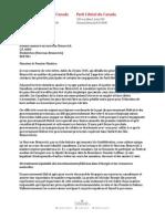 Lettre de Justin Trudeau au premier ministre du N.-B. Brian Gallant