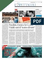 """""""conPasolini"""", Messaggero Veneto, 4 settembre 2015"""