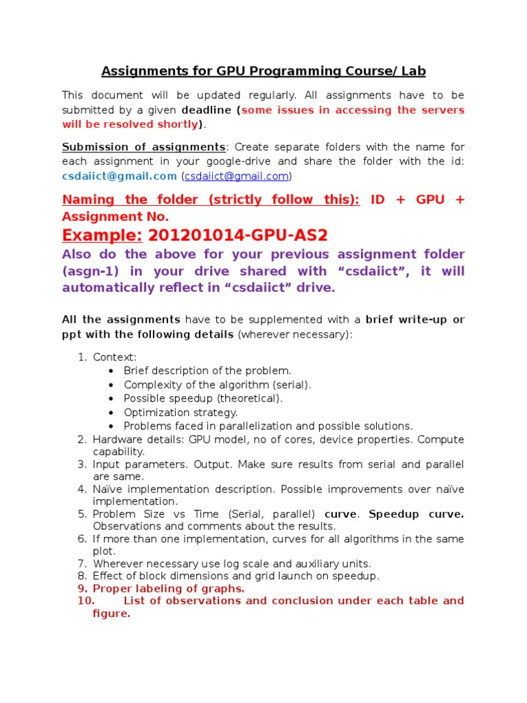Assignments | Parallel Computing | Graphics Processing Unit