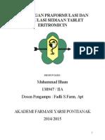 Rancangan Praformulasi Dan Formulasi Sediaan Tablet Eritromicin