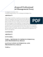 Study on Advanced Professional Development Management Essay