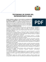 Testimonio de Poder Del Representante Legal La Nevera SRL