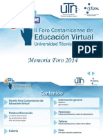 Memoria Foro Costarricense de Educación Virtual UTN 2014