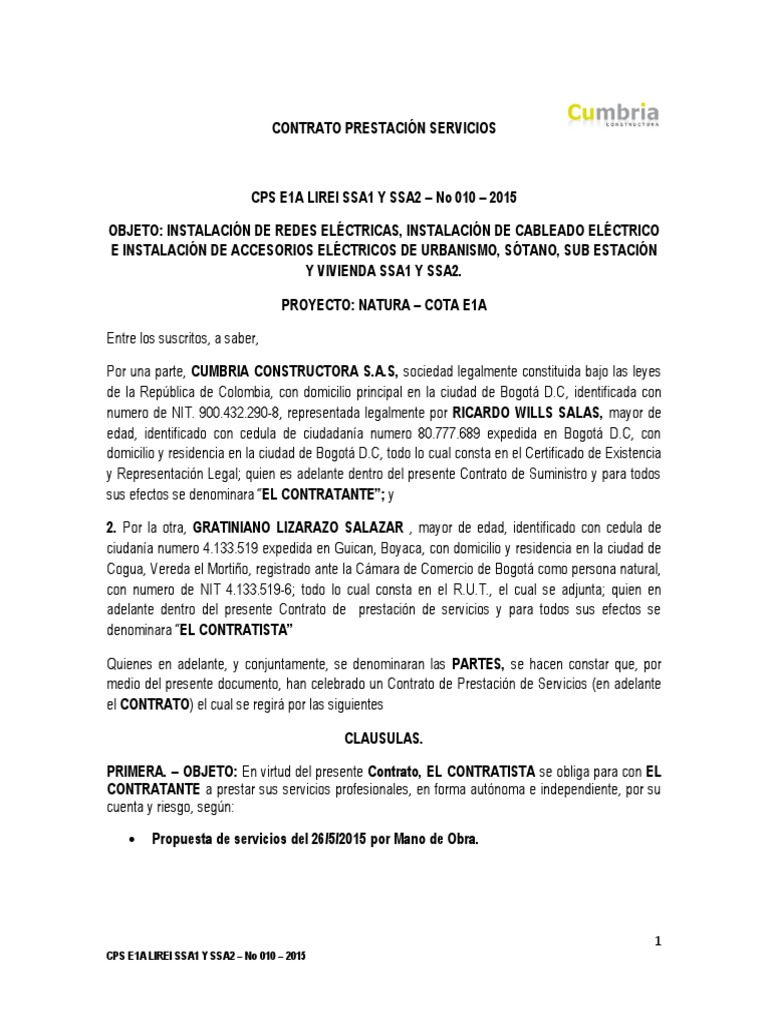 Atractivo Plantilla De Contrato De Contratista Ideas - Ejemplo De ...