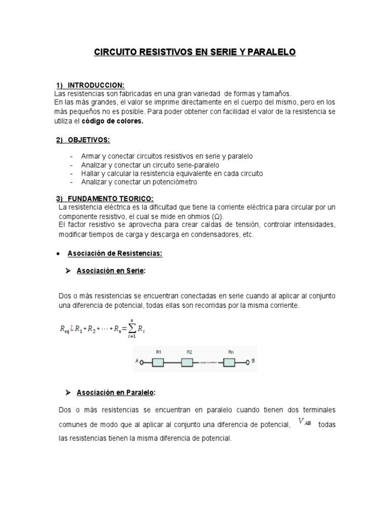 Circuito Seri E Paralelo : Circuitos en serie y paralelo informe laboratorio