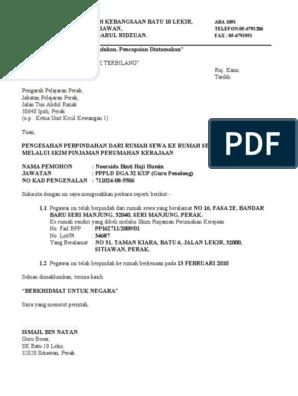 Contoh Surat Pengesahan Perpindahan