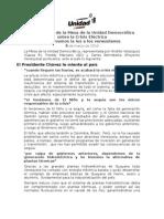 Declaración de la Mesa de la Unidad Democratica sobre la Crisis Electrica