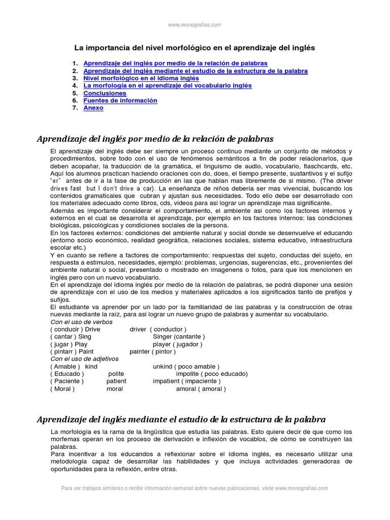 Importancia Del Nivel Morfologico Aprendizaje Del Ingles