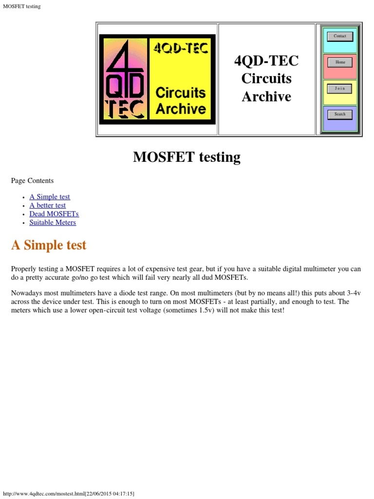 Mosfet Testing Field Effect Transistor Test Circuit