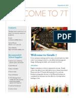 grade 7 newsletter 2015