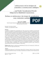 Lahire, B. (2006)  Infancia y adolescencia. De los tiempos de socialización sometidos a constricciones múltiples..PDF