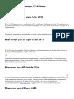 Predicciones y Horoscopo 2016 Dinero