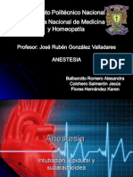 Anestesia Epidural Sub e Intubacion
