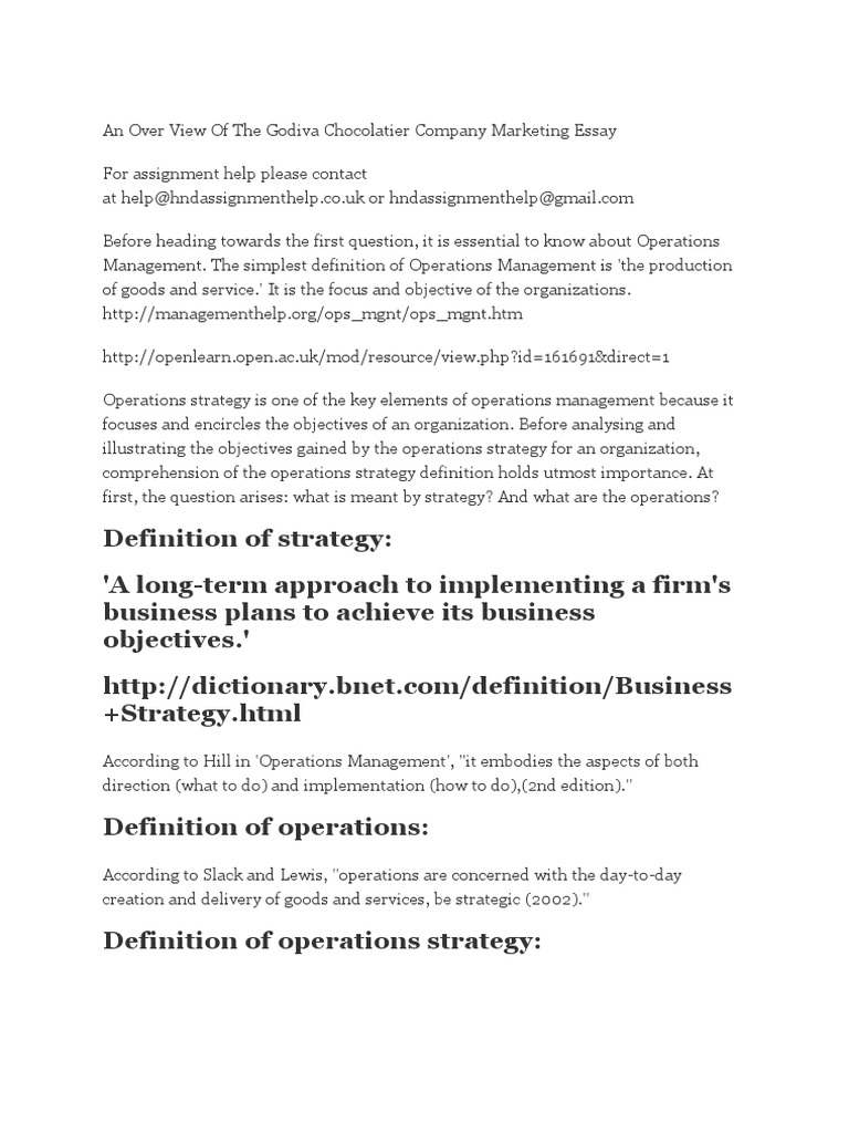 An Over View Of The Godiva Chocolatier Company Marketing Essay  An Over View Of The Godiva Chocolatier Company Marketing Essay  Strategic  Management  Retail