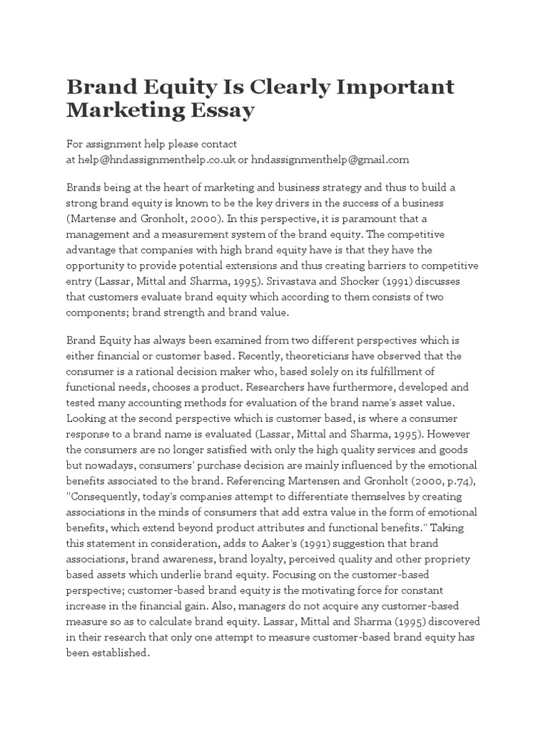 brand equity is clearly important marketing essay
