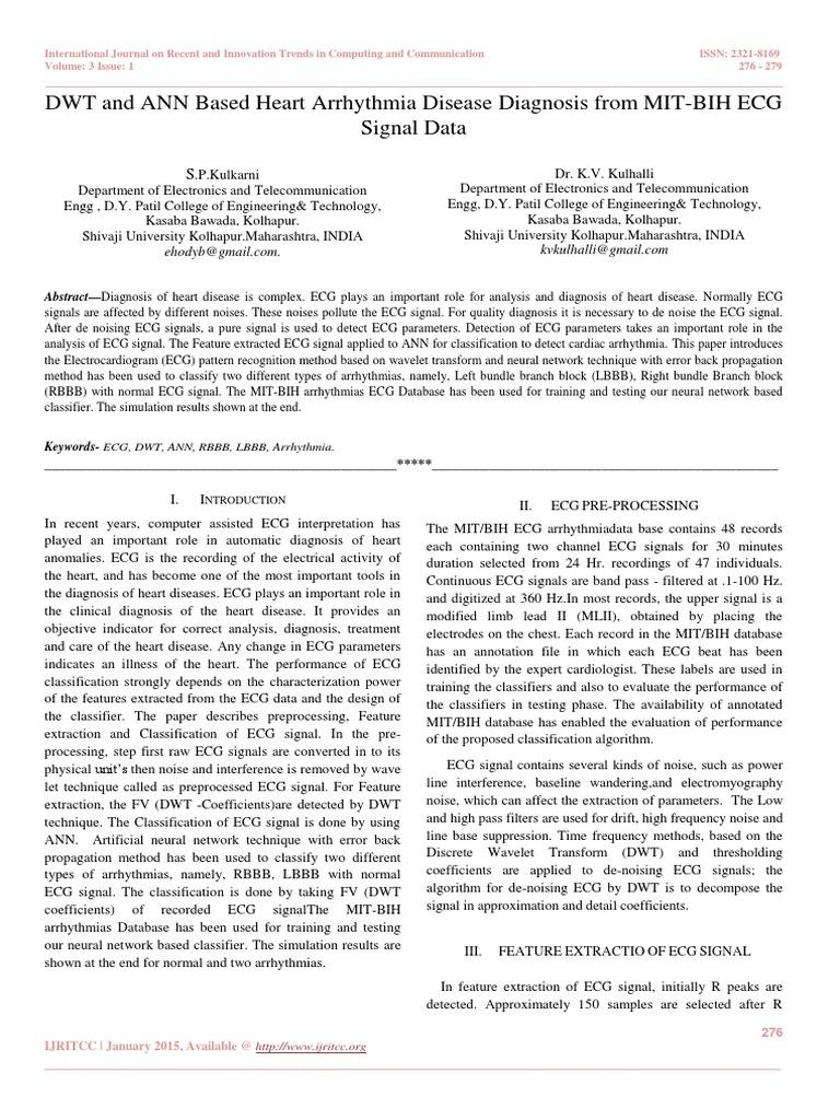 DWT and ANN Based Heart Arrhythmia Disease Diagnosis From