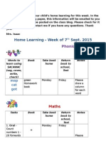 phonics and maths homework week of 7th sep 2015