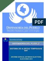 Informe de Riesgo Electoral 2010 Defensoria del Pueblo