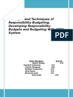 Concepts and Techniques of Responsibility Budgeting, Developing Responsibility Budgets and Budgeting With MBO System