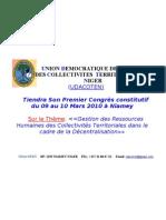 Congrès Constitutif de L'UDACOTEN du 9 au 10 Mars 2010 à Niamey