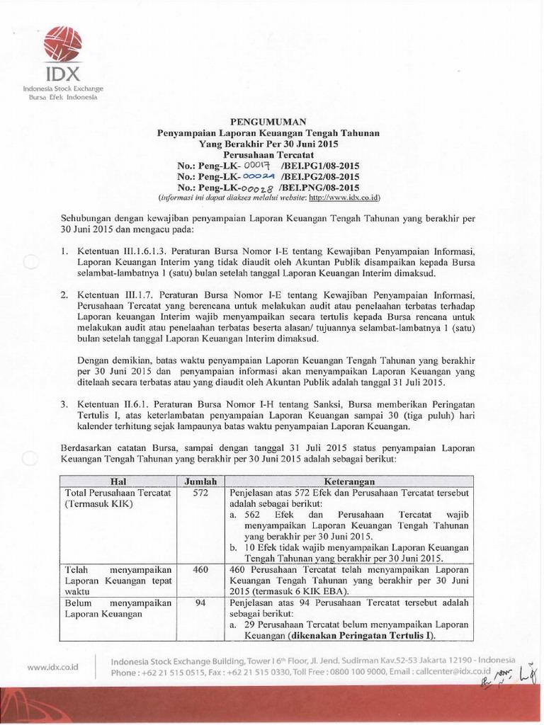 Idx Penyampaian Laporan Keuangan Tengah Tahun