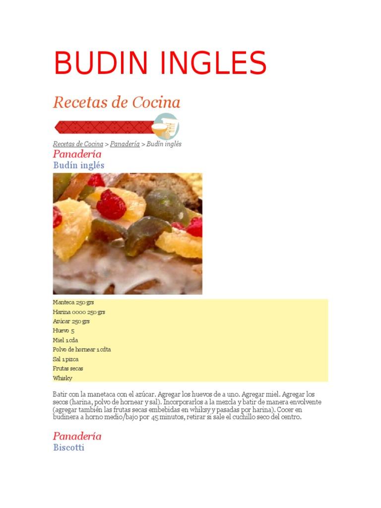 Receta De Cocina En Ingles | Budin Ingles