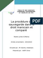 La Procédure de Sauvegarde Des Entreprises en Difficultes Dans Le Droit Marocain Et Comparé (Harti Omar)