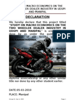 Study on Macro Economics on the Two Wheeler Dealer Industry in Udupi and Manipal