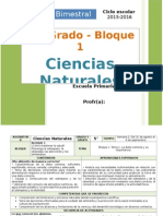 Plan 5to Grado - Bloque 1 Ciencias Naturales