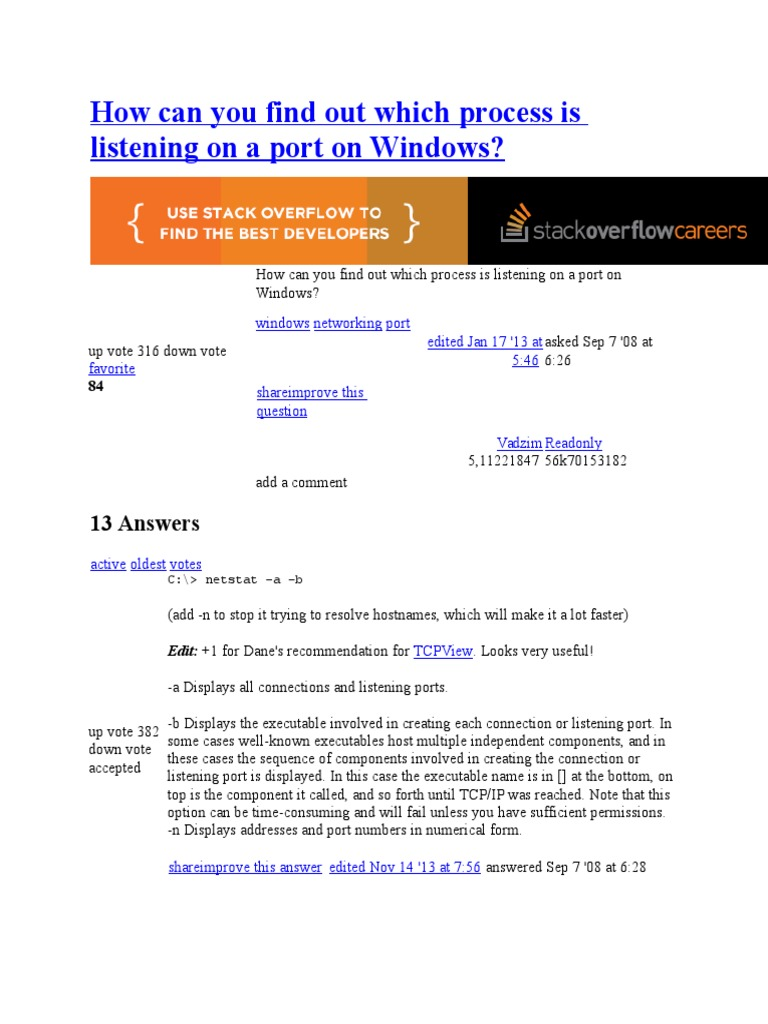 How Can You Find Out Which Process is Listening on a Port on